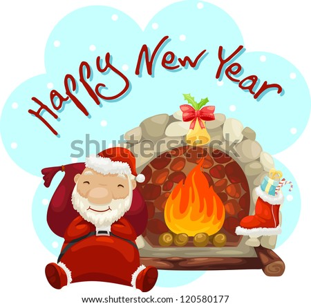 santa claus and fireplace vector