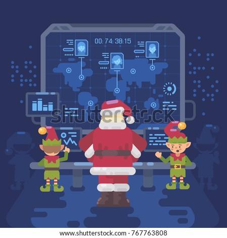 santa claus and his elves at