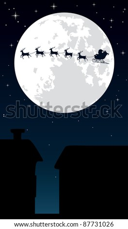 Santa Claus and his reindeer sleigh backlit by the full moon. Editable vector illustration.