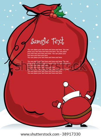 Santa Claus and his toy sack with copy space
