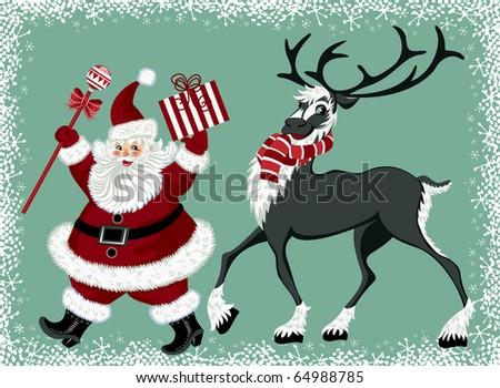 Santa Claus and reindeer - stock vector