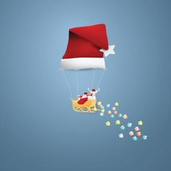 Santa Claus and reindeer in a balloon shaped Santa hat floating on a blue background.paper craft style Vector and illustration