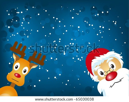 Santa Claus and Reindeer in blue background