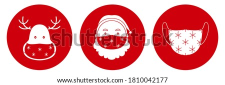 Santa Claus and reindeer in protective masks. Pandemic Christmas symbols. Vector icon.