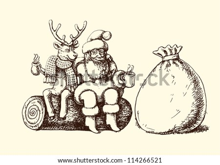 Santa Claus and reindeer taking a coffee break