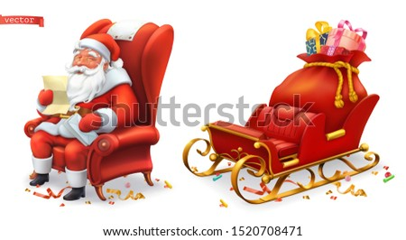 Santa Claus and sleigh with gifts. 3d vector icons