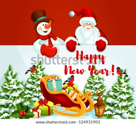 santa claus and snowman holding