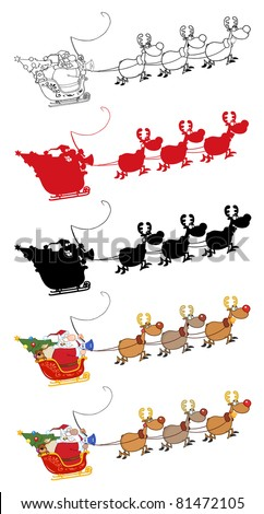 Santa Claus And Team Of Reindeer In His Sleigh Flying.Vector Collection