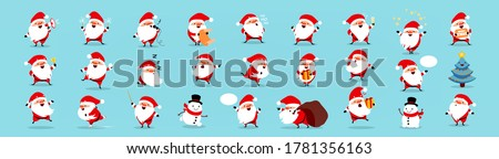 Santa Claus big Christmas and New Year set. Set of funny cartoon Santa with different emotions and situations. Vector illustration isolated on light blue background