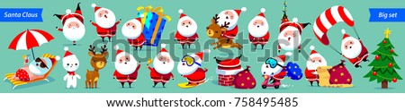 Santa Claus Big collection. Cute cartoon characters with different emotions and Christmas elements. Vector illustration. Isolated on green background.