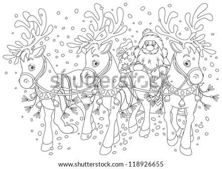 Santa Claus carrying Christmas gifts in his sleigh pulled by three reindeers