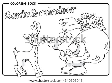 Santa Claus Carrying Sack Of Gifts Reindeer Christmas Coloring