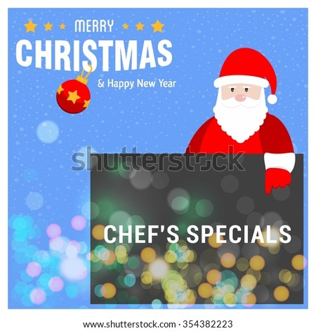 Santa Claus Cartoon Character Holding Board with Chef's Specials typography on glowing Background with Merry Christmas Title. Vector Illustration