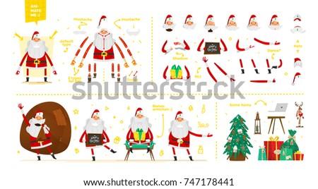 santa claus character  set for