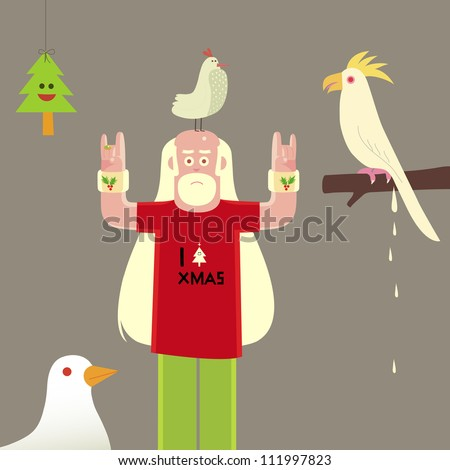 Santa Claus character with birds and pine tree