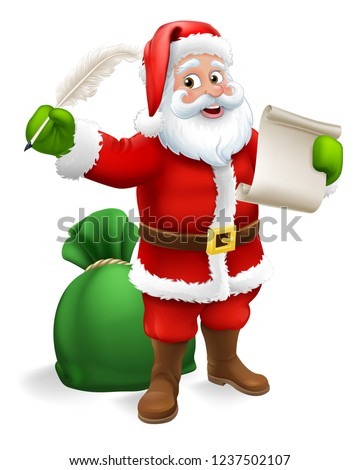 Stock Photo Santa Claus checking Christmas naughty or nice gift list or writing letter to child cartoon scene