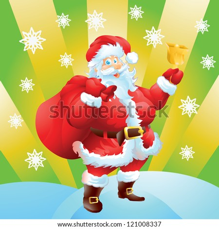 Santa Claus Christmas card - stock vector