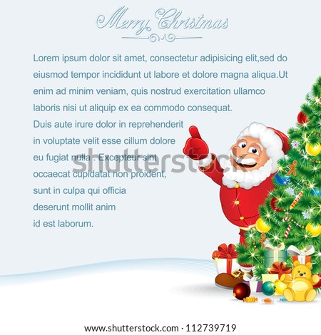 Santa Claus Christmas Card. Vector
