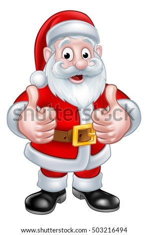 Stock Photo Santa Claus Christmas cartoon character giving a thumbs up