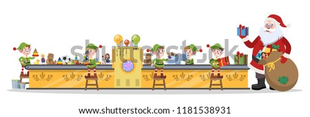 Santa Claus christmas factory. Elf team making toys for gift or present on the machinery line. Santa standing with bag. Isolated vector flat illustration