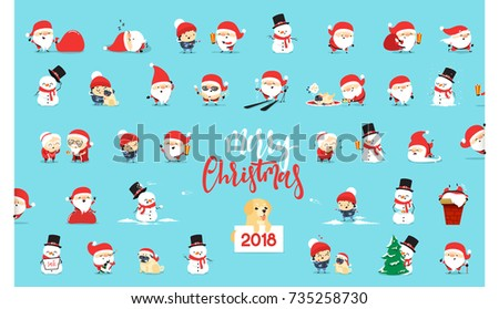 Stock Photo Santa Claus, collection Christmas characters in flat style.