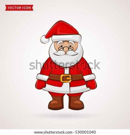 vector illustration santa claus happy new year merry christmas waves a hand welcomes and smiles holding a bag with gifts icon celebration of the holiday