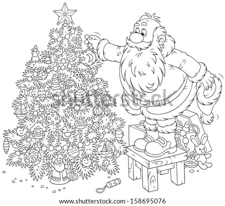 Black People Decorating For Christmas santa claus decorating a christmas tree stock vector illustration