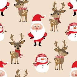 Santa Claus, deer, snowman seamless pattern. Cute Christmas holidays cartoon character background.