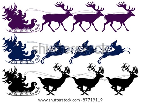 Santa Claus drives in a sleigh on three deers. Three variants