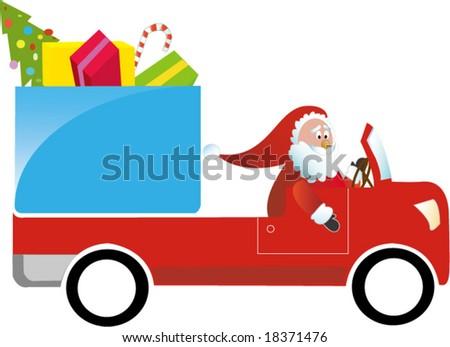 Santa Claus  driving a gift truck