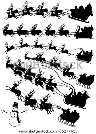 Vector Santa Reindeer Silhouette Free Download 6414
