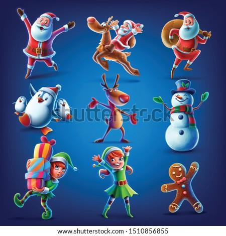 santa claus elf reeindeer snowman penguin gingerbread set illustration for christmas