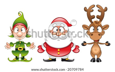 stock vector : Santa claus, Elf, Rudolph