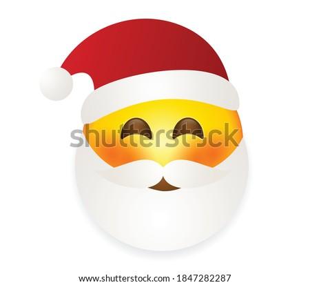 Santa Claus emoticon vector illustration isolated on white background. Santa emoji. Winter Holidays Emoticon. Santa Clause smiley. Сток-фото ©