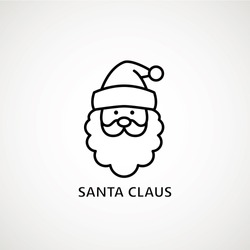 santa claus face beard moustache happy xmas christmas new year outline thin line vector icon black on white background