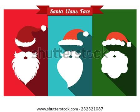 861d428d19b Santa claus face flat icons with long shadow. Set of santa hats and beards.