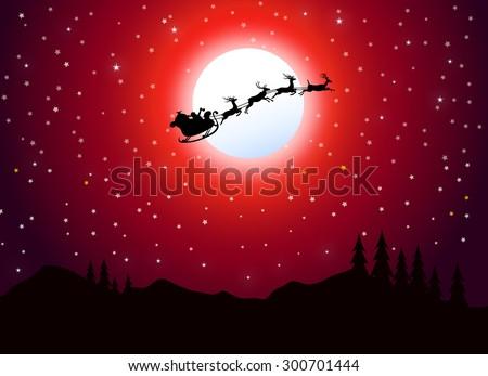 santa claus flying at christmas