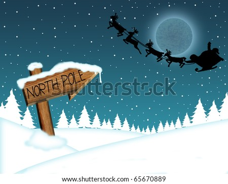 santa claus flying in front of