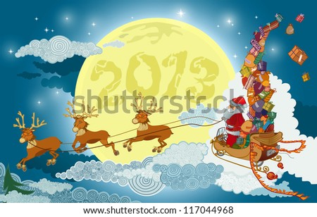 santa claus flying in the sky with reindeer