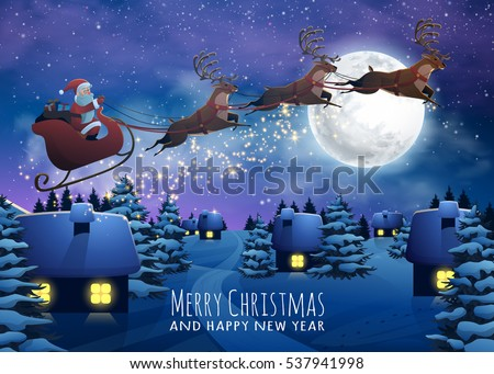 Santa Claus Flying On A Sleigh With Deer Christmas Houses In Snowfall Night Merry
