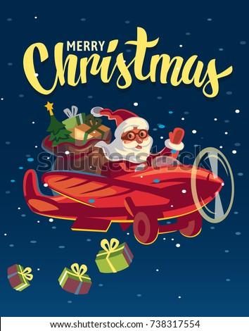 santa claus flying on airplane