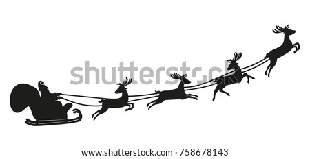 Santa Claus flying with deer. Black silhouette on white background. Vector illustration