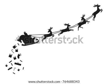 santa claus flying with deer