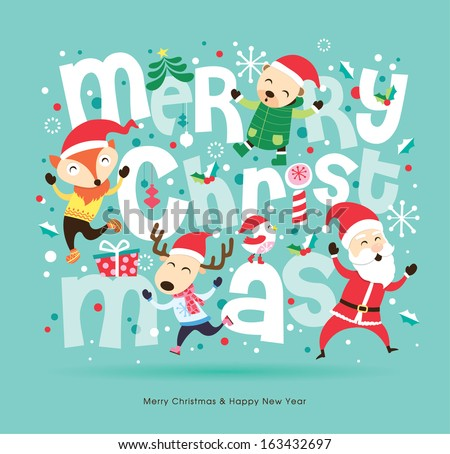 Stock Photo Santa Claus & friends Christmas card