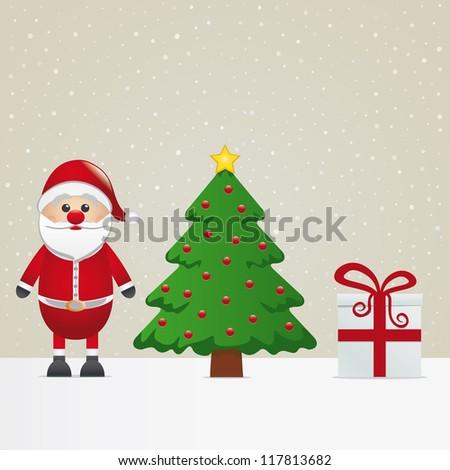 santa claus gift and christmas tree snowy