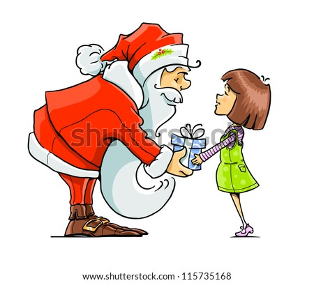 Santa Claus give gift to girl vector illustration isolated on white background