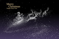 Santa Claus giving gifts, vector particles illustrations.