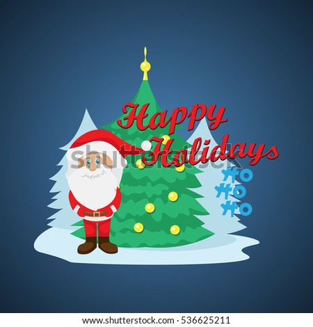 Santa Claus Greeting Card - Isolated On Blue Background, Vector Illustration, Graphic Design. Concept For Web, Websites and Print Material. Template For Social Media Network, Newsletter And Ads #536625211