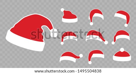 Santa Claus hat flat set. Realistic Santa Claus hat isolated transparent background. Red cap silhouette. Merry Christmas clothes cute cartoon design. New year decoration costume Vector illustration