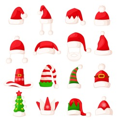 Santa Claus hat set isolated. Big collection of winter fur woolen hat. Father Christmas hats of different shapes. Flat icon winter snowboard caps elf accessory. Cartoon style. Vector illustration
